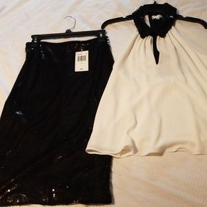 Sequined skirt and top